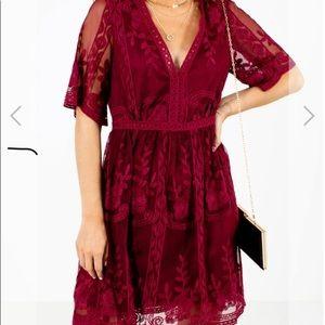 NWT Haute Monde Burgundy Boho Wine Lace Dress